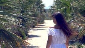 Woman walking through the palms. Beautiful woman walking through the palms in slow motion stock video footage