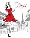 Woman walking in Paris Royalty Free Stock Photos