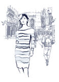 Woman walking in Paris. Vector illustration Stock Images