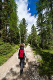 Woman walking on a path in the woods Stock Images