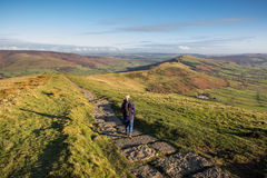 Woman Walking in the Peak District Stock Photos