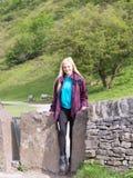 Woman walking in peak district Royalty Free Stock Image