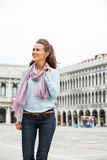 Woman walking on piazza san marco in venice Royalty Free Stock Images
