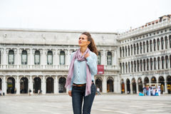 Woman walking on piazza san marco in venice Stock Image