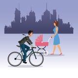Woman walking pram and boy ride bike city background Stock Photography