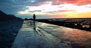 Woman walking on promenade at beach during dusk 4k. Rear view of woman walking on promenade at beach during dusk 4k stock video