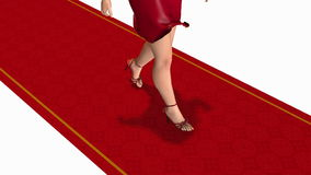 Woman walking by the red carpet stock video