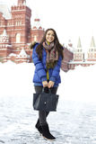 Woman walking on the Red Square in Moscow Stock Photos