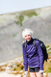 Woman Walking on a Rocky Hiking Path Royalty Free Stock Photos