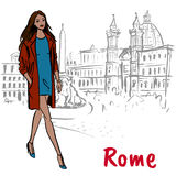 Woman walking in Rome. Fashion sketch of beautiful woman in Rome, Piazza Navona Royalty Free Stock Photography
