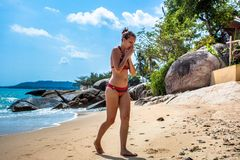 Woman walking at the sea on Koh Samui. Thailand Stock Photography