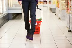 Woman Walking with Shopping Basket stock images