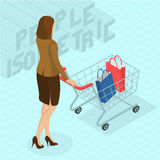 Woman walking with shopping cart. Young woman walking with shopping cart. Back view.  Isometric 3d flat design vector people different characters, styles and Stock Image