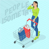 Woman walking with shopping cart. Young woman walking with shopping cart. Front view. Isometric 3d flat design vector people different characters, styles and Stock Photos