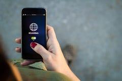 Woman walking smartphone interface roaming Royalty Free Stock Photo