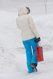 Woman walking in the winter city. Woman walking on a snow-covered town stock photo