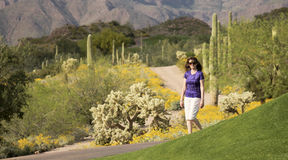 A Woman Walking in the Sonoran Desert. In Springtime Royalty Free Stock Image