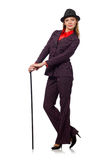 The woman with walking stick  on the white Royalty Free Stock Photography