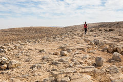 Woman walking stone desert. Royalty Free Stock Photography