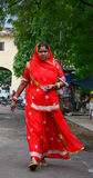 A woman walking on street in Gaya, India Royalty Free Stock Images
