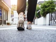 Woman Walking on Street Outdoor Urban in morning royalty free stock images