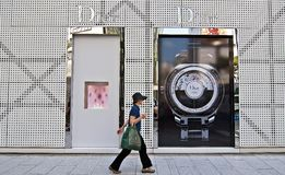 A woman walking the streets of Ginza, Japan Royalty Free Stock Photography