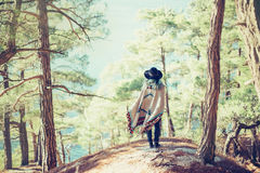 Woman walking in summer forest Stock Photos