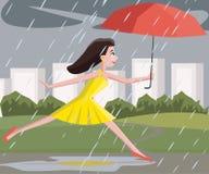 Woman walking at summer rain Stock Images