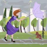 Woman walking at summer storm Stock Photos