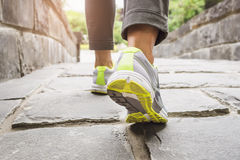 Woman Walking on trail, Outdoor exercise. In the morning Stock Photo