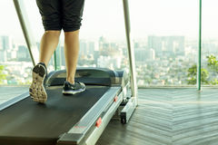 Woman walking on a treadmill exercise in the gym. In the morning Stock Photo