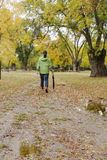 Woman walking with an umbrella in a park with yellow leaves falling from trees. In a city Royalty Free Stock Images