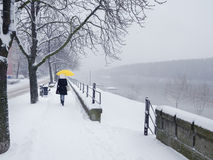Woman walking with umbrella on snowy winter day Royalty Free Stock Images