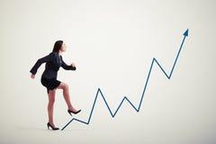 Woman walking up diagram Stock Photos
