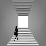 Woman walking up on staircase up and down concept Royalty Free Stock Photography