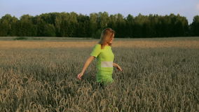 Woman walking through wheat field. stock footage