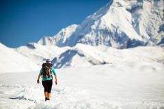 Woman walking in winter mountains Royalty Free Stock Images