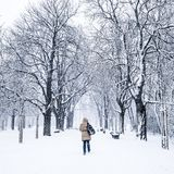 Woman walking in winter park Stock Photo
