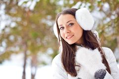 Woman walking in winter park Royalty Free Stock Photography