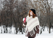 Woman walking in winter park Royalty Free Stock Image