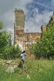 In the ruins of an old factory stock photos