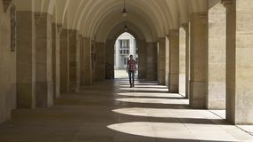 Woman walks down the hall of columns stock video footage