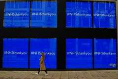 `NHS Thank You` in a store window on Oxford Street, London