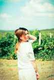 Woman  walks on a vineyard Royalty Free Stock Images