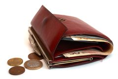 Woman wallet with coins Stock Photography