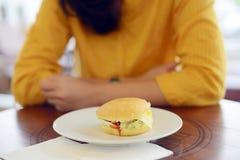 Woman Want To Eat Sandwich Stock Photo