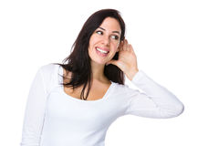 Woman want to listen about something Royalty Free Stock Images