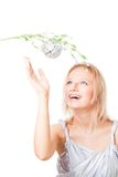 Woman want to tear apple from tree Royalty Free Stock Photography