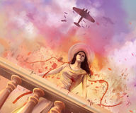 Woman and war. Standing wounded woman and bombers flying in the sky dramatic scene artwork Stock Photo