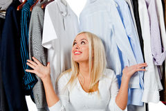 Woman in a wardrobe Royalty Free Stock Images